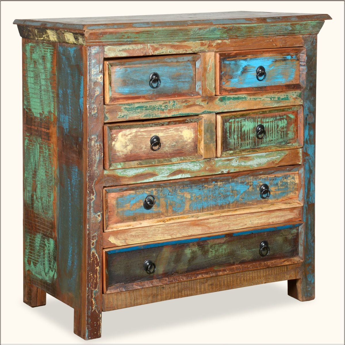Decorating With Distressed Furniture: Appalachian Rustic Painted Old Wood 6 Drawer Bedroom