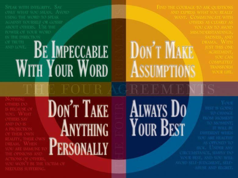 4 Agreements To Live Byd The 5tht Just To Quote Them And