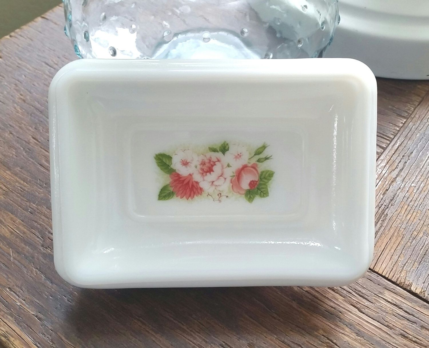 Bathroom Accessories Vintage vintage avon milk glass pedestal floral soap dish. vintage