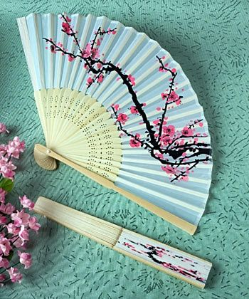 Stunning Cherry Blossom Silk Fan Spring or Summer Wedding Favor