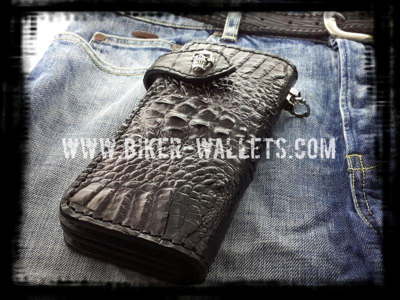 """""""Wumpscut"""" 8"""" Black Crocodile Men's Biker Wallet"""