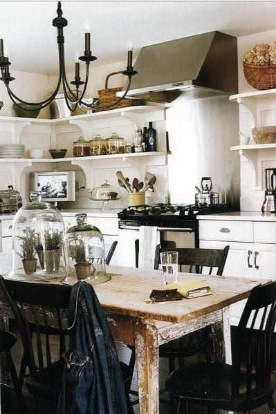 Shabby Chic Kitchen I Really Like The Black Accents Against The