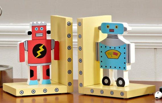 Robot Wooden Nursery Bookends / Book stands / Book holders