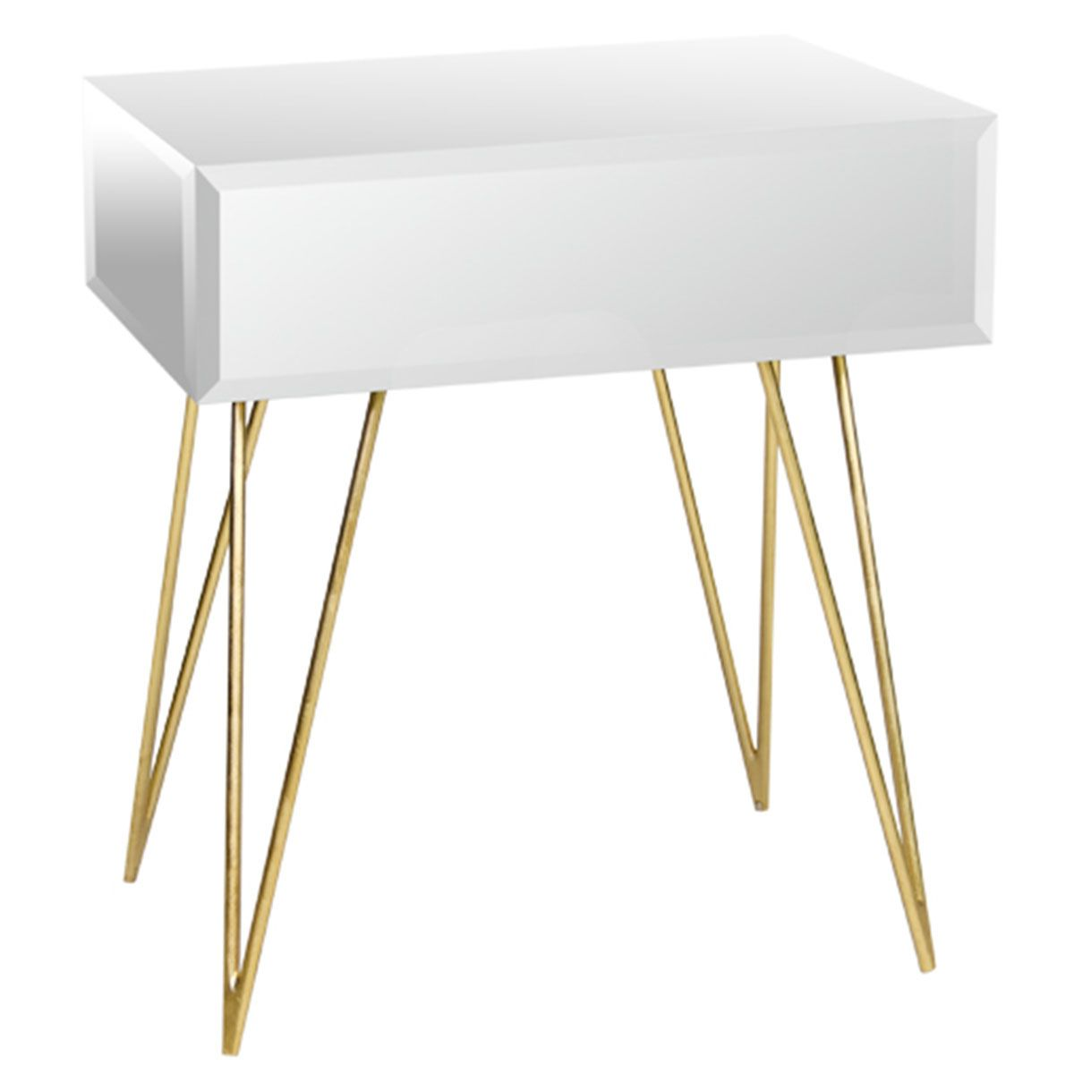 Worlds Away One Drawer Side Table With Gold Leafed Hairpin Legs Mirrored Side Tables Glass Nightstand Glass Side Tables