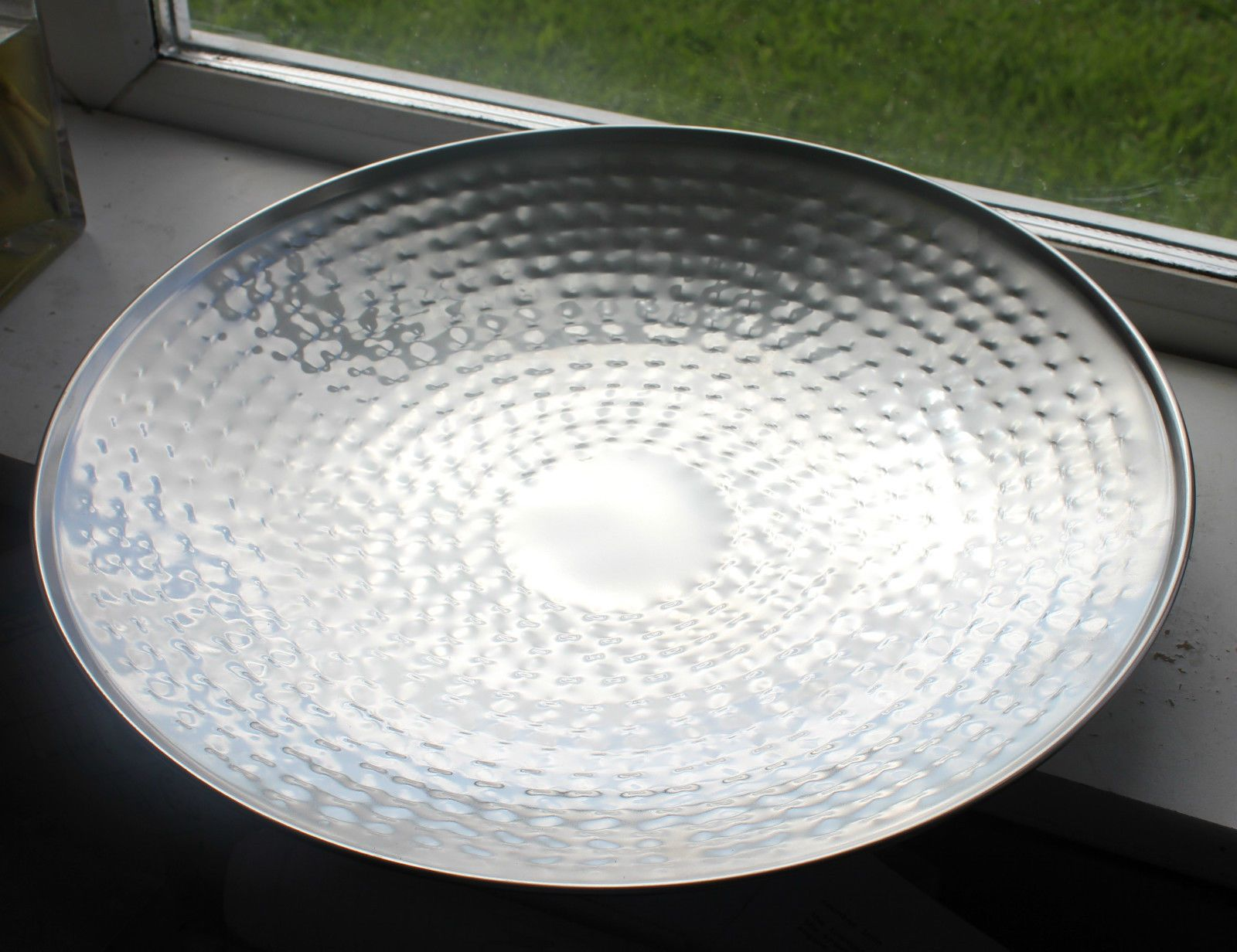Large Stainless Steel Hammered Dimpled Platter Plate Fruit Bowl Metal Chrome 37 Ebay Modern Decorative