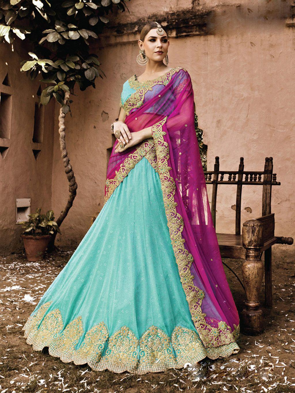 Sky Blue Lycra Wedding Lehenga Choli 70116 | lehenga | Pinterest ...