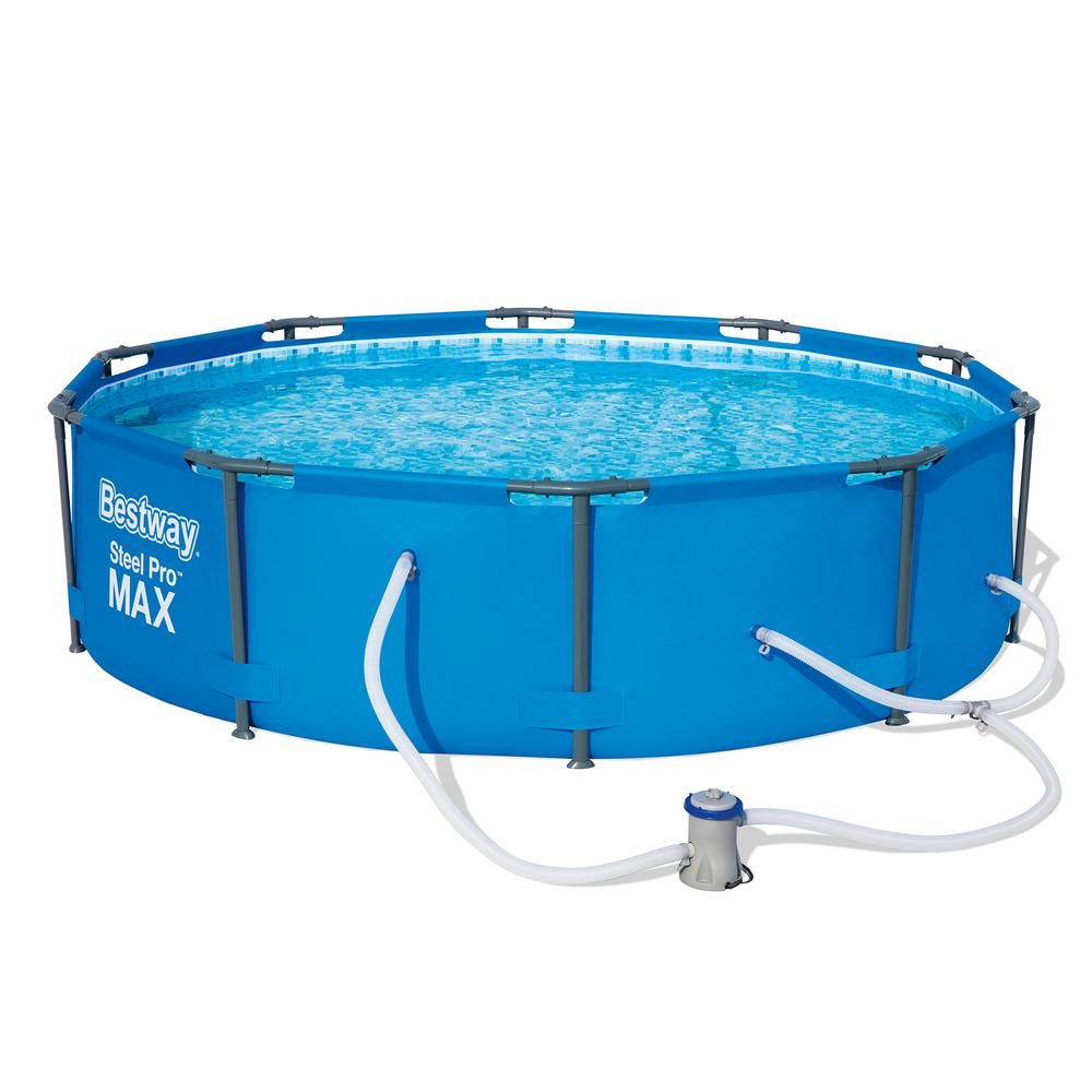 Bestway 10 Ft Round 30 In D Steel Pro Hard Side Frame Above Ground Family Swimming Pool Set 56407e Bw The Home Depot In 2020 Above Ground Swimming Pools In Ground Pools