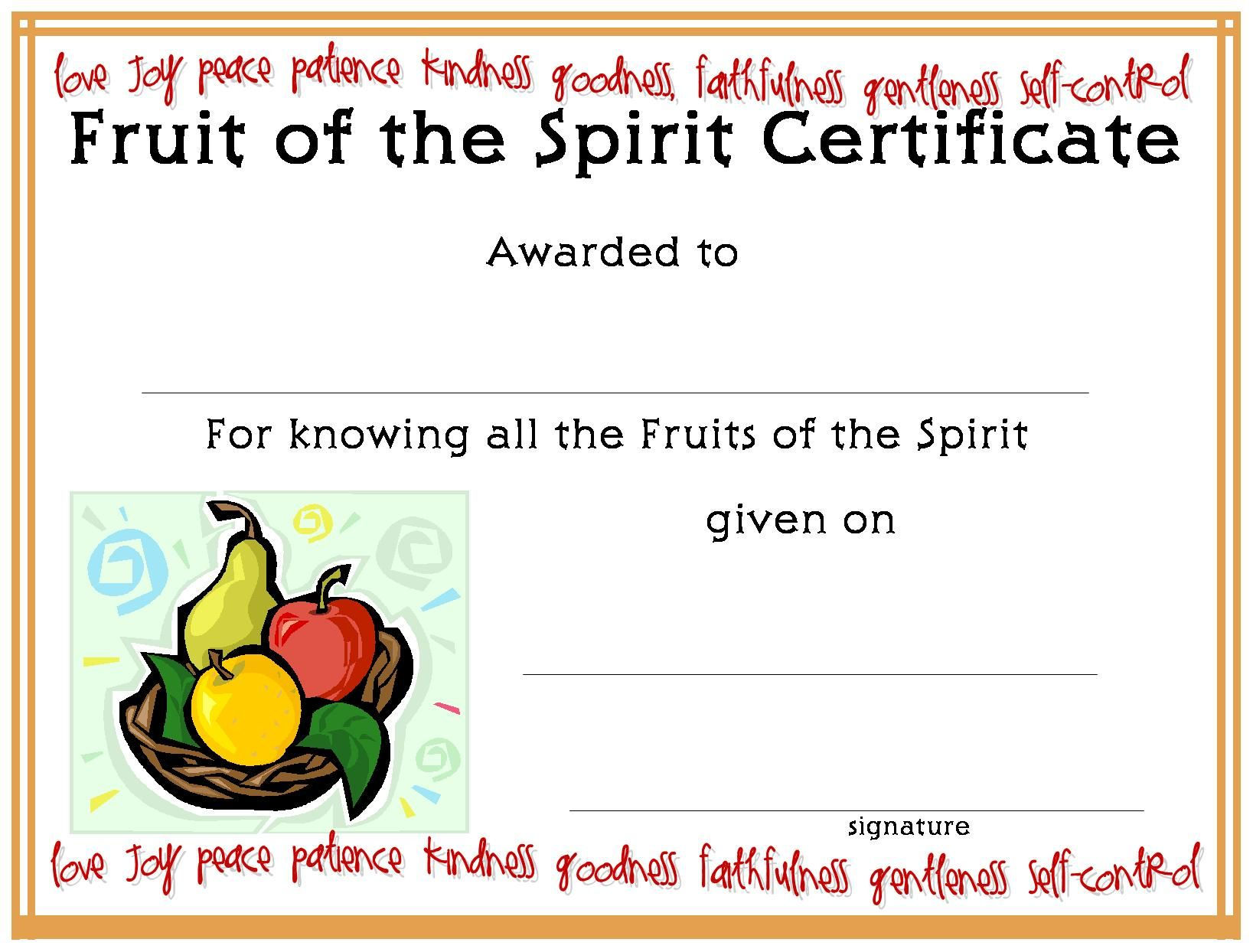 Certificatetemplate Fruit Of The Spirit