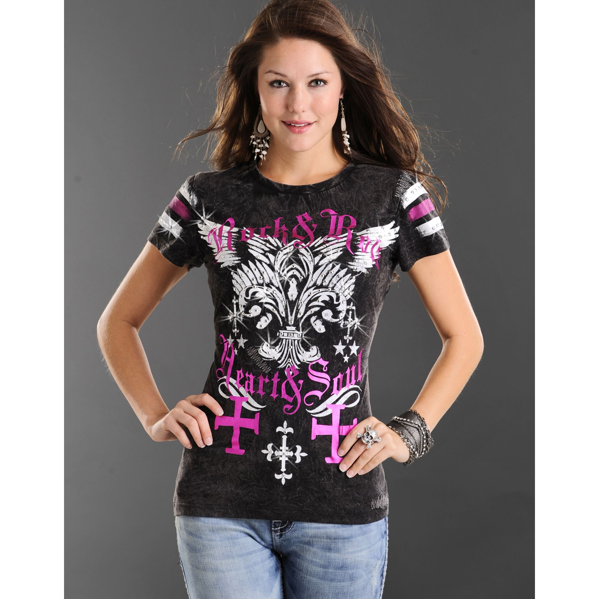 Rock and roll cowgirl fleur de lis and crosses tshirt clothes