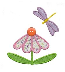 Flower and Dragonfly Applique - 3 Sizes! | Butterflies and Bumblebees | Machine Embroidery Designs | SWAKembroidery.com