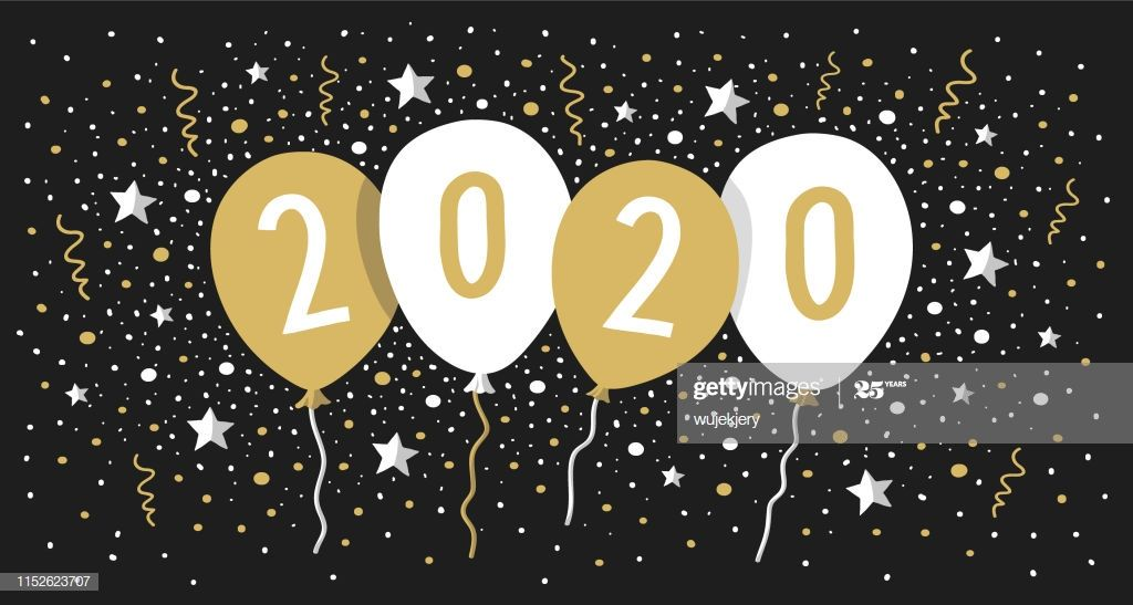 Greeting card 2020 with balloons, confetti, stars. You can