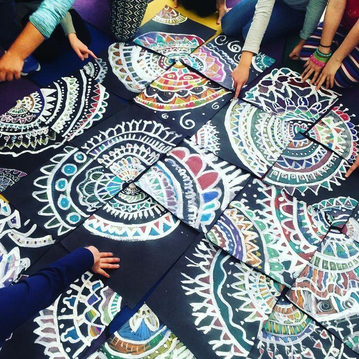 "🎨lauralee chambers on Instagram: ""2nd grade guys!! Finished mandalas today. These are 12x12-Love!!! #mandala #mandalaart #corners #paintandplay #artlesson #primaryart #arted…"""