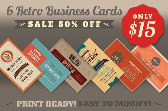6retro business cards business creative and business cards check out sale 6retro business cards 50 off by cruzine on creative market accmission Gallery