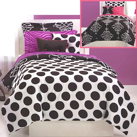black white polka dot teen girl bedding full queen bed in a bag comforter sets purple pink. Black Bedroom Furniture Sets. Home Design Ideas