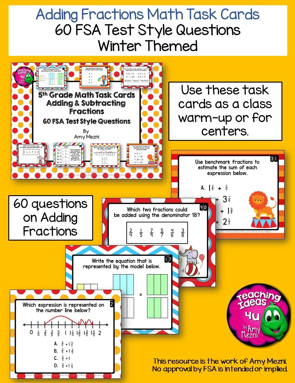 Adding Fractions 60 Task Cards 5th Grade FSA Style Questions – Fsa Worksheet
