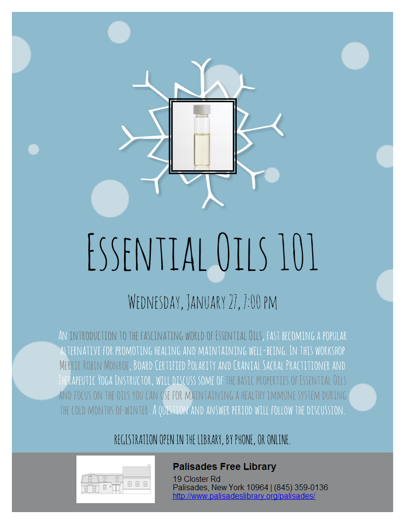 Essential Oils 101 - Wednesday, January 27, 7:00 PM