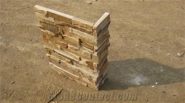 Wellest Yellow Wood Slate Rough Culture Stone Corner Ledge