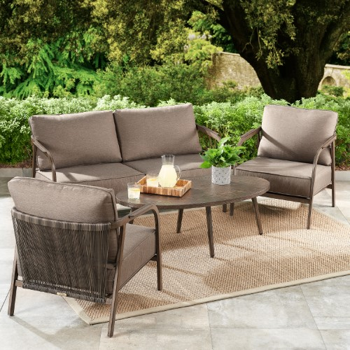 Better Homes Gardens Arlo 4 Piece Patio Loveseat Set With Brown