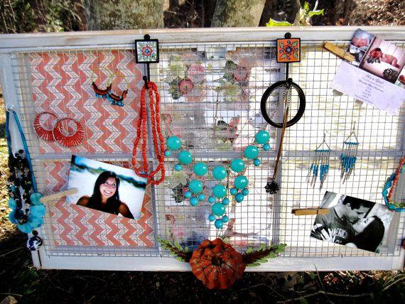 Jewelry Organizer Old Window Jewelry Holder Vintage Distressed by