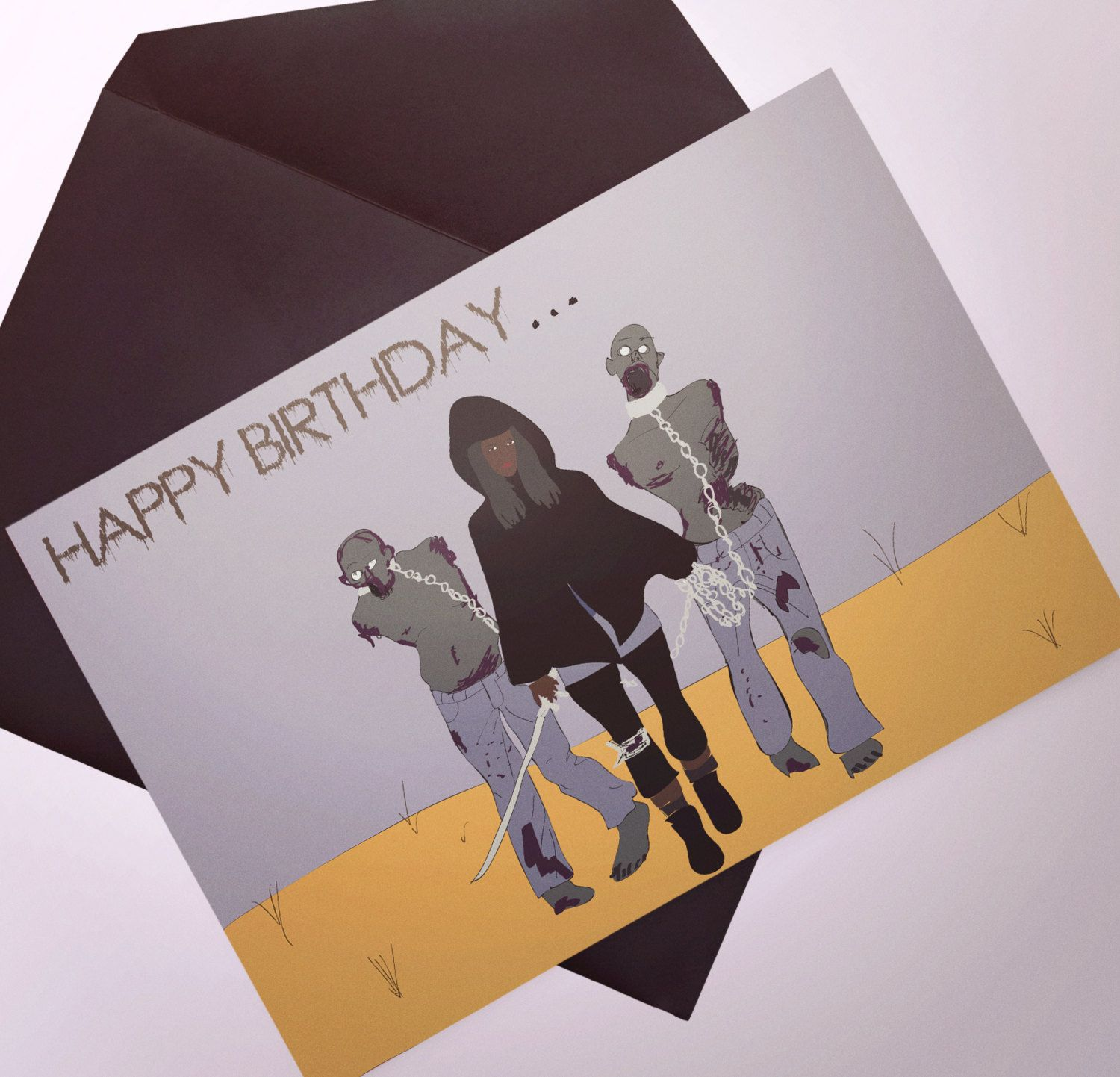 The walking dead zombie inspired birthday card happy birthday new to poppastiche on etsy the walking dead zombie birthday card happy birthday kristyandbryce Choice Image