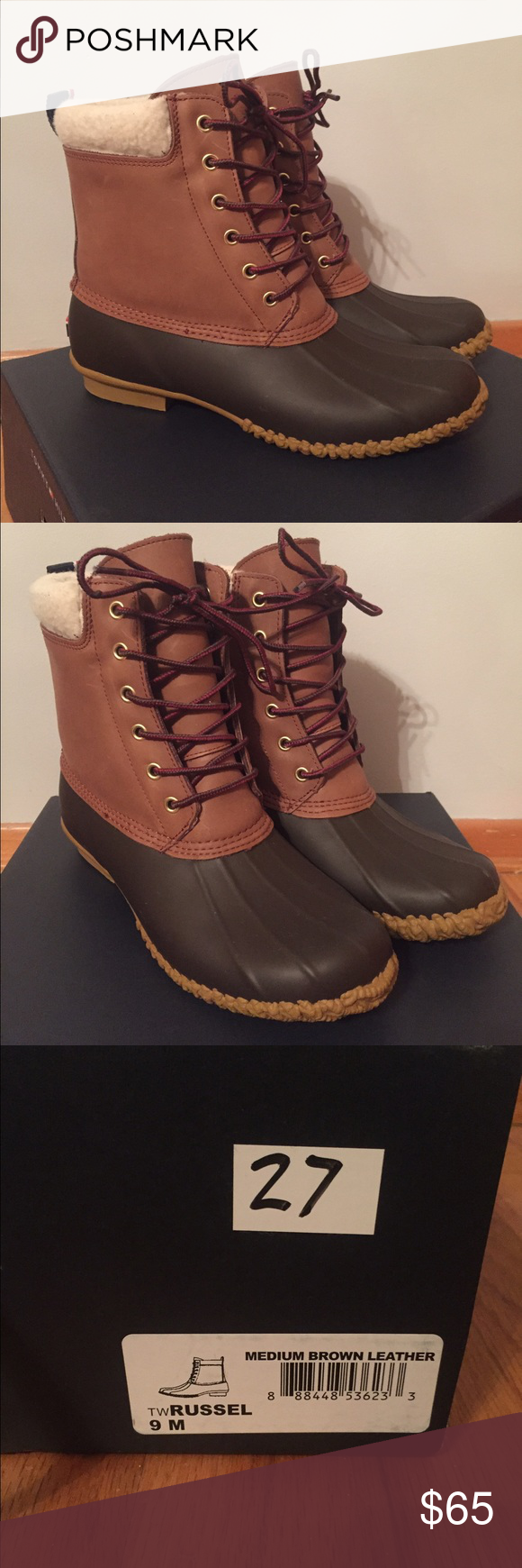 Tommy Hilfiger Duck Boots Women's Tommy Hilfiger Duck Boots. Only worn a few times still in good shape. Brown rubber toe. Size 9 - true to size Tommy Hilfiger Shoes Winter & Rain Boots
