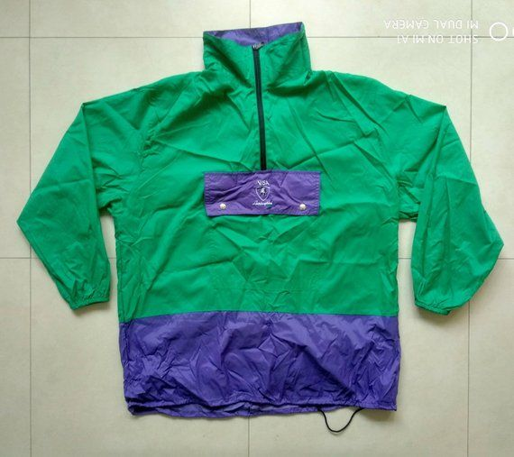ffe1213a303 Vintage Visa LAMBORGHINI windbreaker jacket   Retro Old School 90s 80s Rain  Outdoor Running Nike Adidas Reebook Fila Rap Hip Hop   Size L Size L  Condition ...