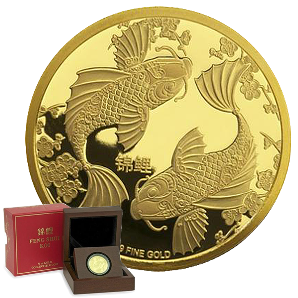 Gold Feng Shui Koi: In Chinese tradition, Koi are symbolic of unity and fidelity as they are known to swim together in pairs. Due to this, they are often given as wedding gifts in the form of charms or figurines.