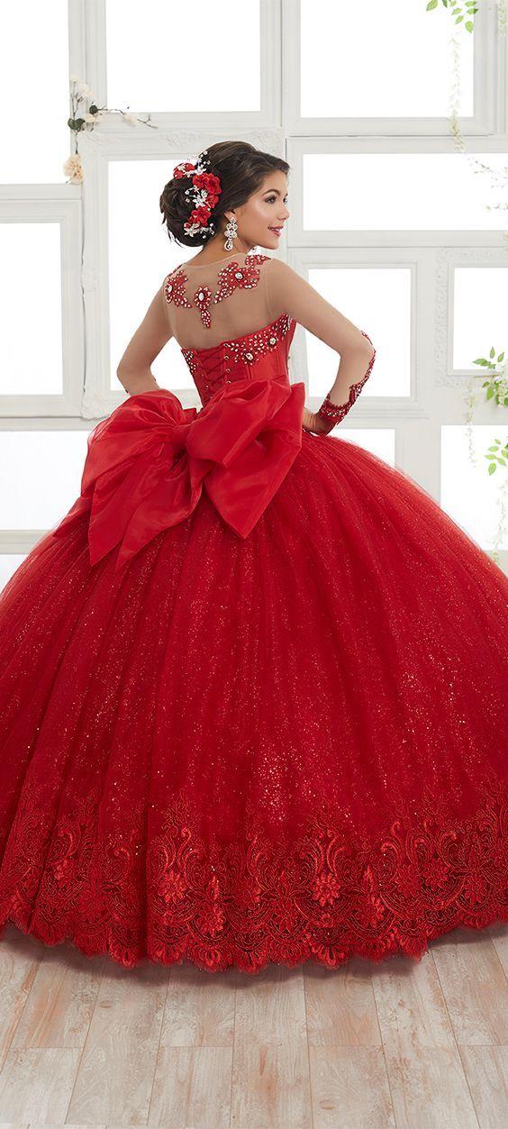 Vestido De 15 Años Color Rojo Modernos 15 Años Vestidos De