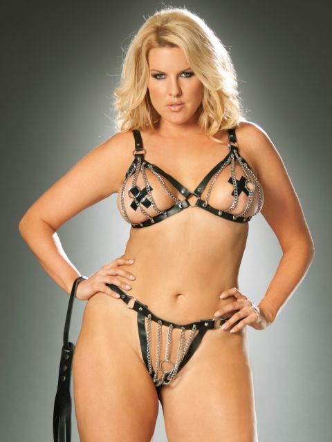 a05be7f02865f Chain Bra and Matching Thong with Leather Trim