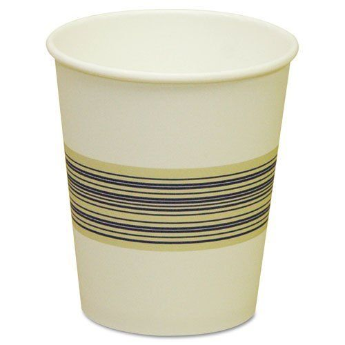 Boardwalk BWK 10SQHOTCUP 10 oz Squat Paper Hot Cup White With Blue - color lined paper