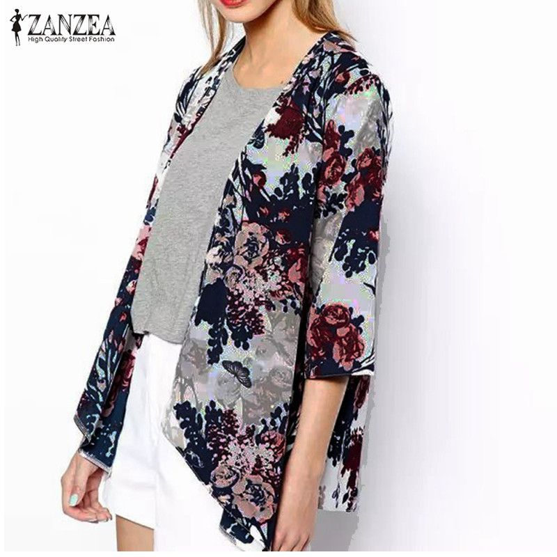 ZANZEA 2017 Fashion Womens Boho Kimono Cardigan Shawl Chiffon Flower  Printed Blouses Ladies Tops 3/