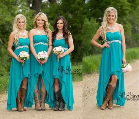 Modest Teal Turquoise Bridesmaid Dresses 2016 Cheap High Low Country ...