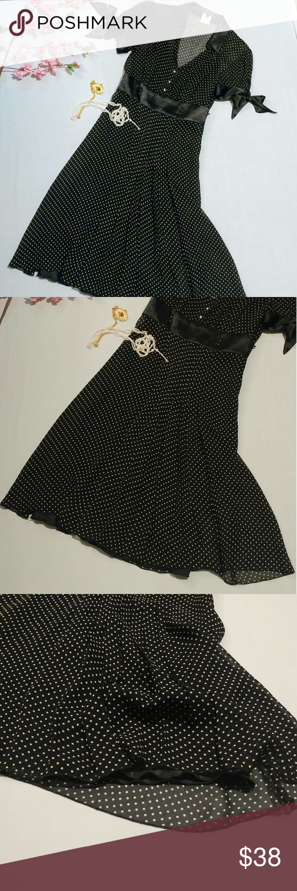 Beautiful vintage polka dot black dress my posh picks pinterest