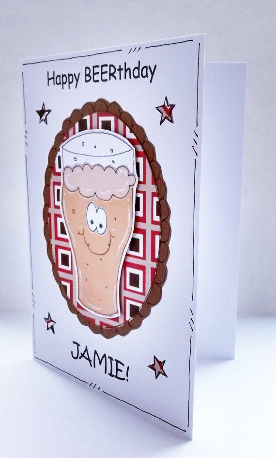 Birthday Card Beer Glass Personalised Men by CraftyMushroomCards