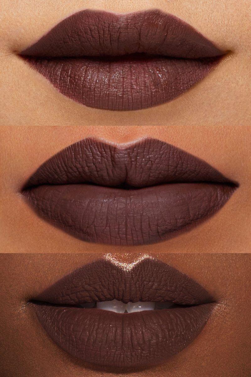 9d0878e9b16cf Ellarie x ColourPop - Hennyways cool-toned chocolate brown Ultra Matte  liquid lipstick lip swatches