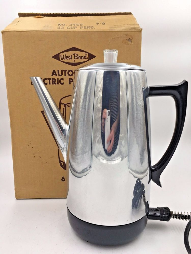 Vintage 1960s West Bend Electric Coffee Percolator Pot 12 Cup 3469 Mint Usa Westbend Percolator Coffee Barefoot In The Park Vintage Coffee