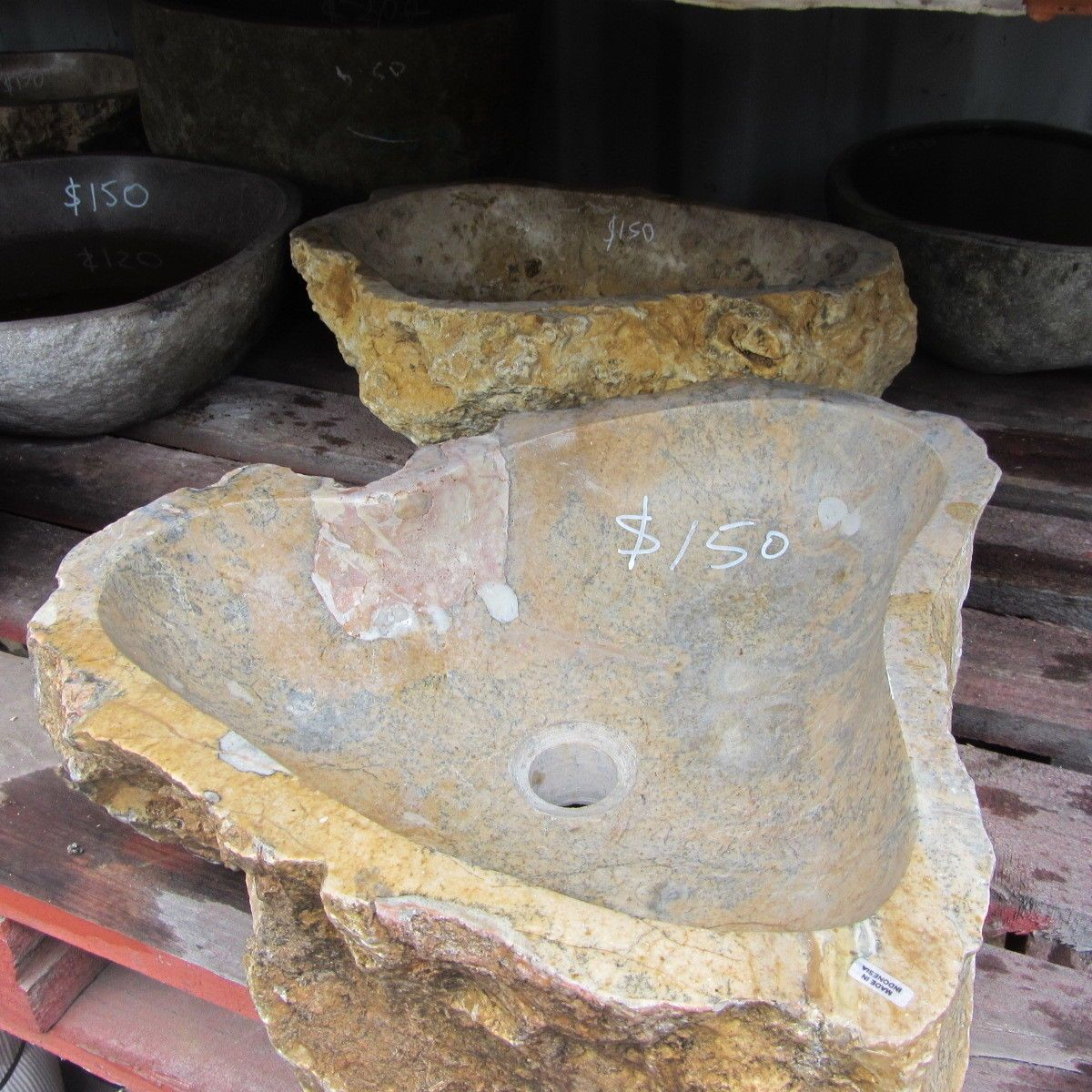 Natural stone basin from bali carved rock bowl bathroom