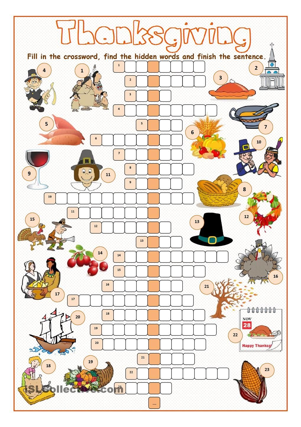 Thanksgiving Crossword Puzzle | THANKSGIVING | Pinterest | Englisch ...
