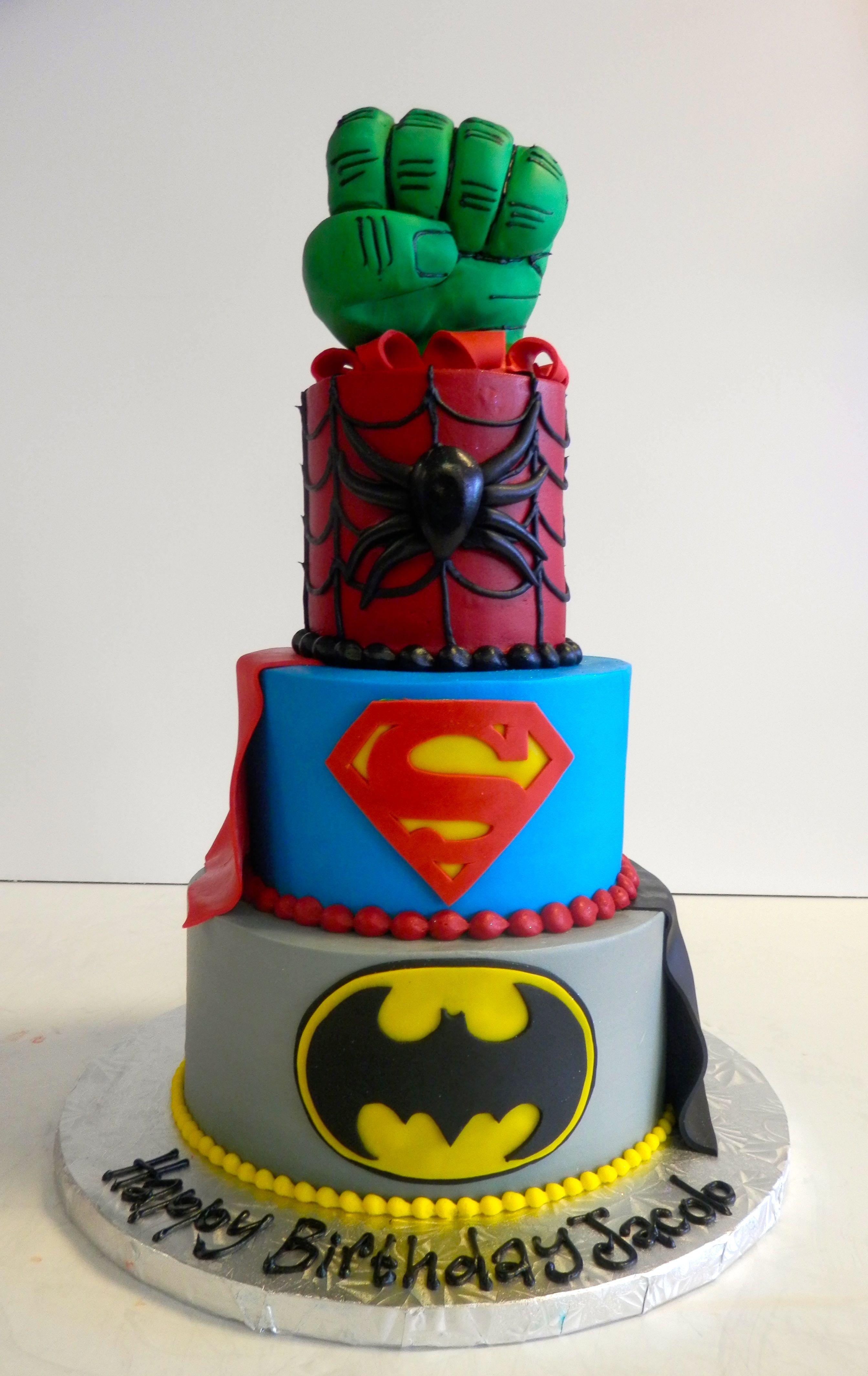 Superhero Cake From Sweet Treets Bakery Spiderman Hulk Batman