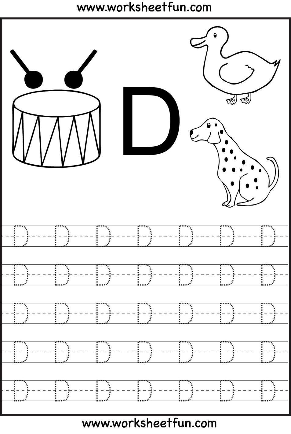 10 Printable Tracing Letters For Kindergarten In 2020 Alphabet Tracing Worksheets Letter D Worksheet Alphabet Worksheets Preschool