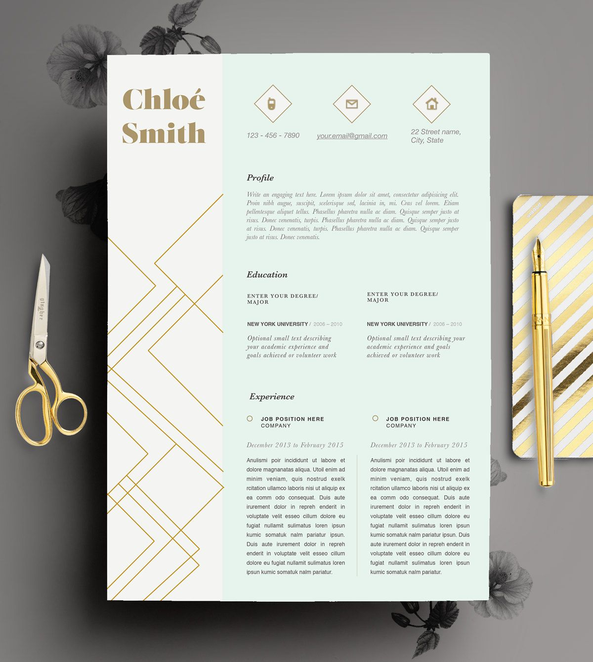 Creative Resume Template Editable in MS Word