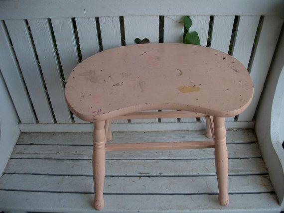 Vintage Kidney Shaped Wood Vanity Stool by ...