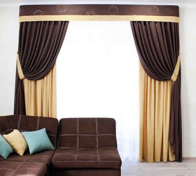 Modern Brown Curtains Designs For Living Room Hall Window Treatment