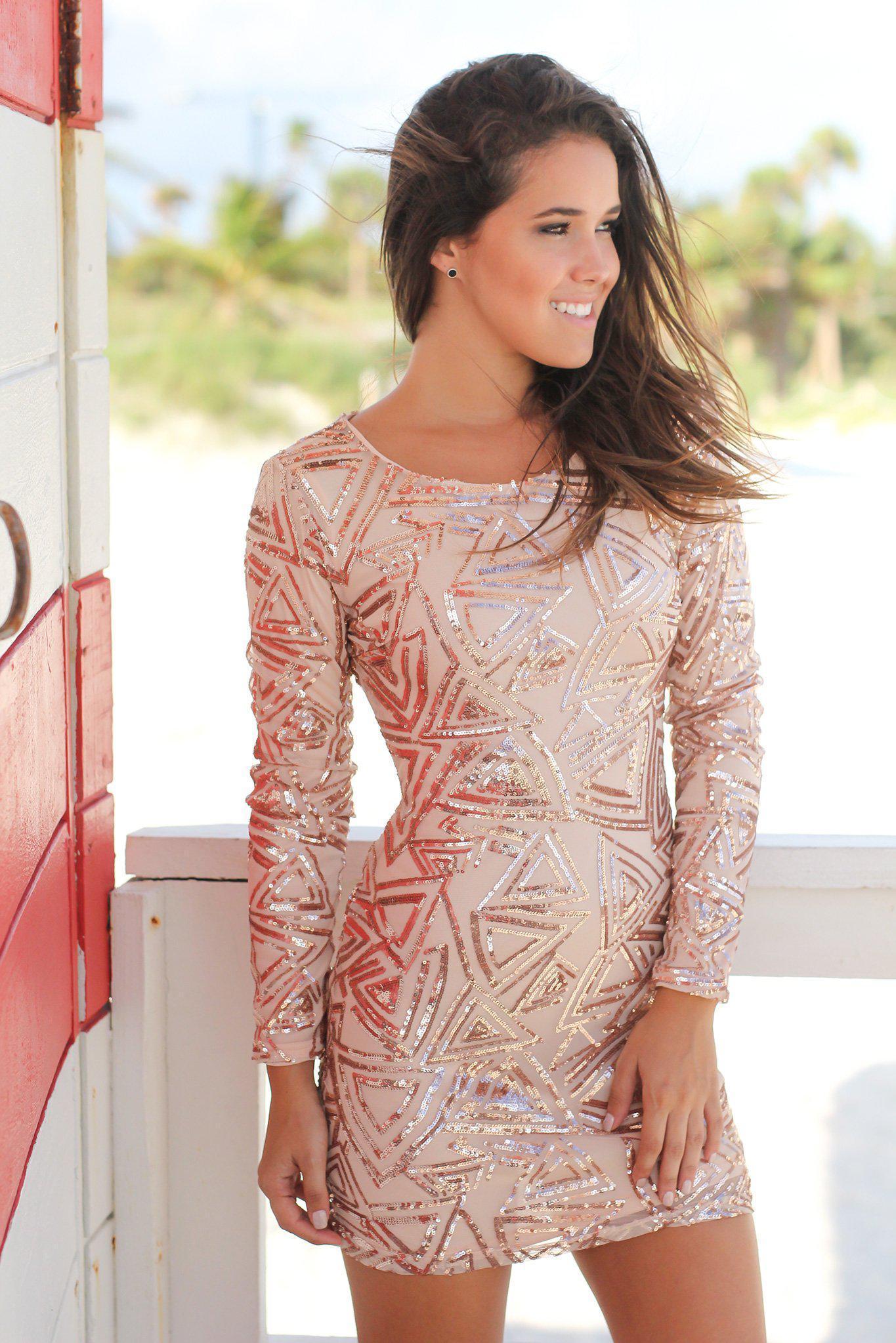 Rose Gold Sequin Short Dress With Long Sleeves Open Back Gold Long Sleeve Dress Rose Gold Dress Short Short Dresses