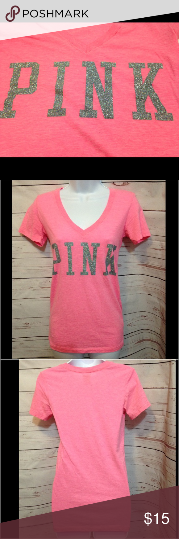 """PINK Victorias Secret pink tee PINK Victorias Secret pink tee. Adorable pink V-neck with silver glitter PINK on front.  25"""" long, 15"""" across chest. Excellent condition! PINK Victoria's Secret Tops Tees - Short Sleeve"""
