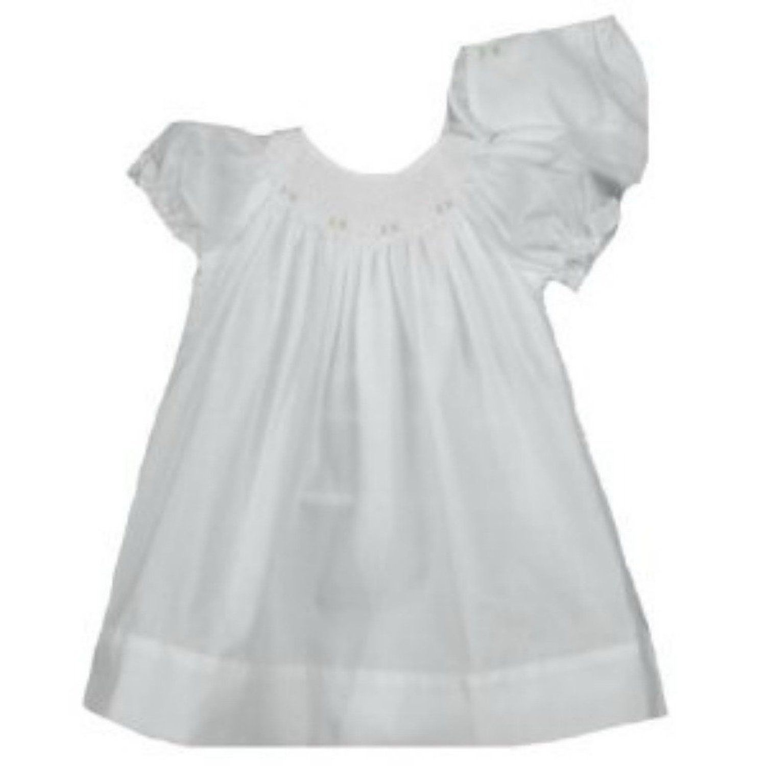 Amazon.com: Petit Ami Baby Girl White Smocked Gown with Bonnet: Clothing
