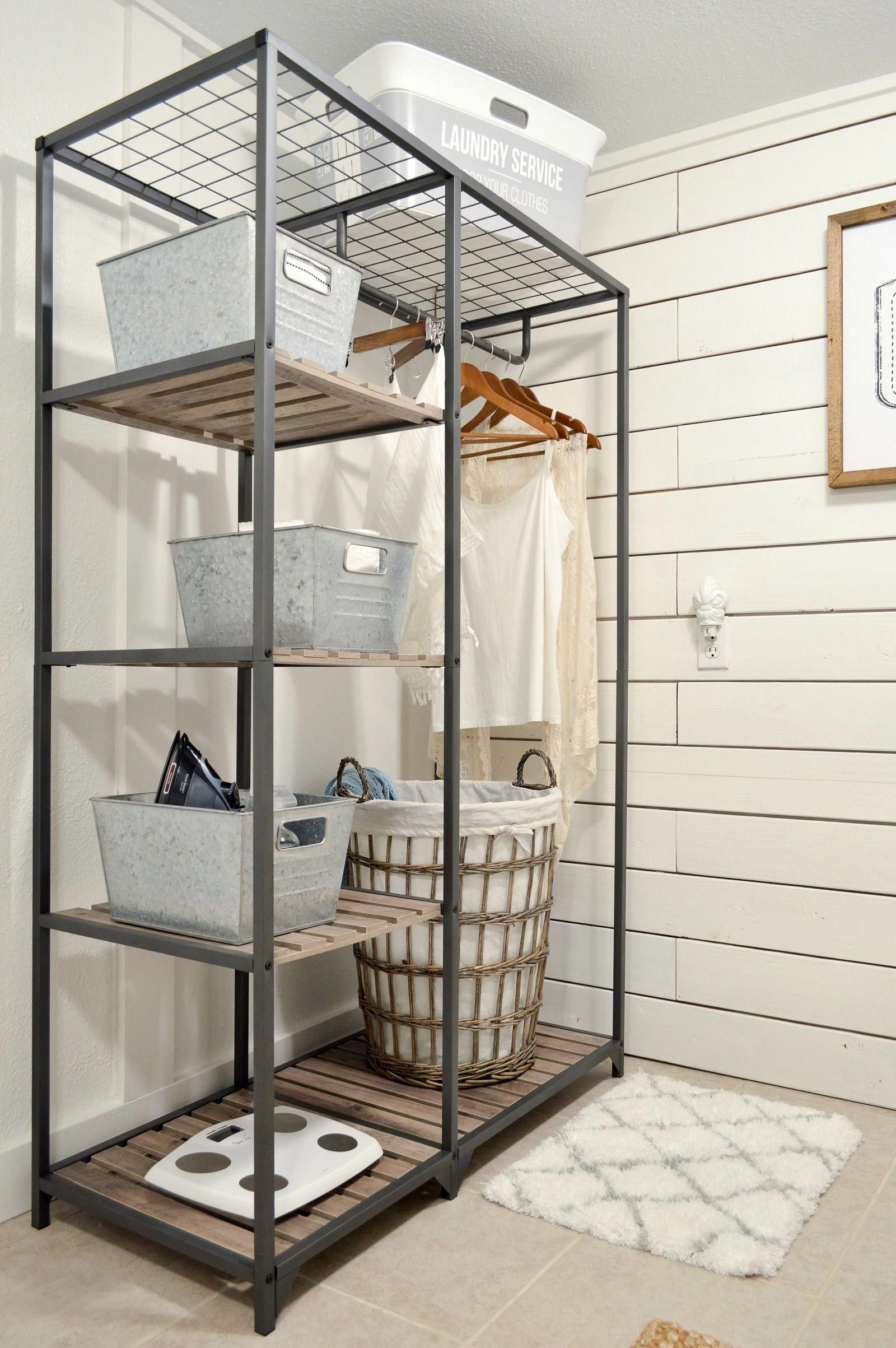 We Love This Wood Metal Shelf With A Hanging Rod Small Space