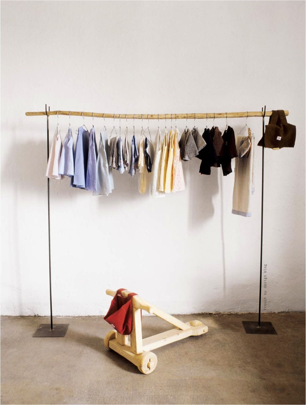 Baby room storage rustic minimal eco friendly hanger for Clothes hanging ideas for small spaces