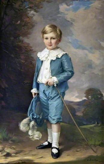 Portrait of Viscount Molyneux (1898–1972), 1903 by Samuel Llewellyn (British 1858-1941).....this is Hugh William Osbert [Molyneux], 7th Earl of Sefton and 14th Viscount Molyneux....later became Lord Mayor of Liverpool from 1944–45 .... his wife was a life-long friend of Wallis Simpson, the Duchess of Windsor....a nod to Gainsborough's 'Blue Boy', I guess...