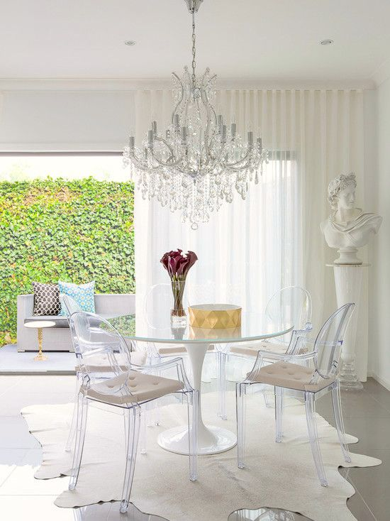 Acrylic Lucite | Ghost Chairs | Eero Saarinen | Tulip Table | Dining Room  Ideas |